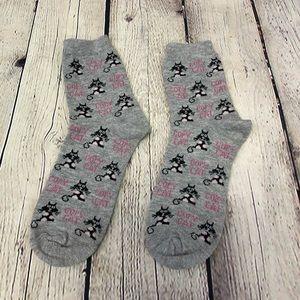 Other - Gray, Black, & Pink Copy Cat Socks